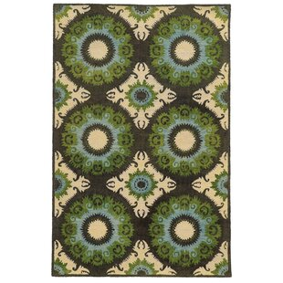 Affordable Tommy Bahama Jamison Black / Green Abstract Rug ByTommy Bahama Home