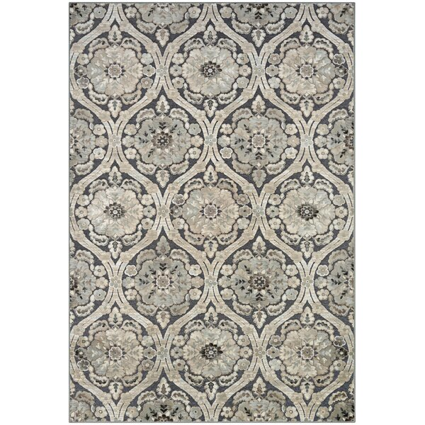 Amethyst Woven Smoke/Antique Cream Area Rug by Ophelia & Co.
