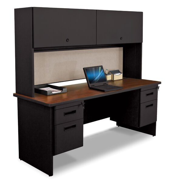 Pronto 2 Right and 2 Left Drawers Computer Desk with Hutch by Marvel Office Furniture