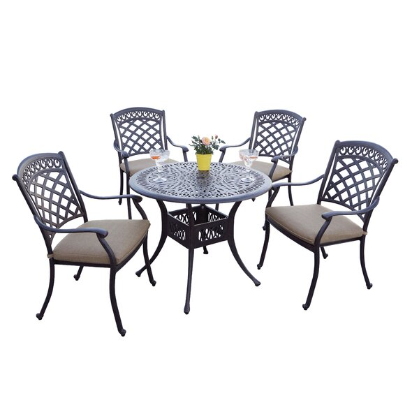 Elyria 5 Piece Dining Set with Cushions by Fleur De Lis Living
