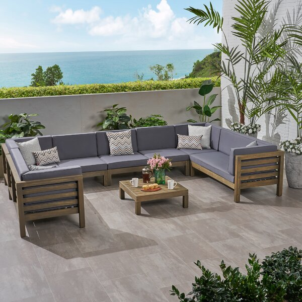 Kristin Outdoor 8 Piece Sectional Seating Group with Cushions by Corrigan Studio