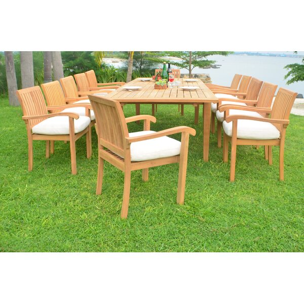 Ramsell Luxurious 13 Piece Teak Dining Set by Rosecliff Heights
