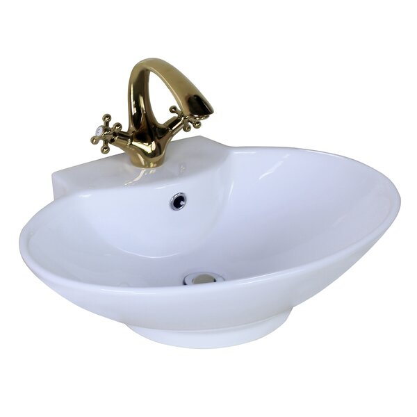 Ceramic Oval Vessel Bathroom Sink with Faucet and Overflow