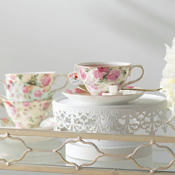 Ilian 8 oz. Porcelain Rose Chintz 4 Piece Tea Cup and Saucer Assorted Set by Lark Manor