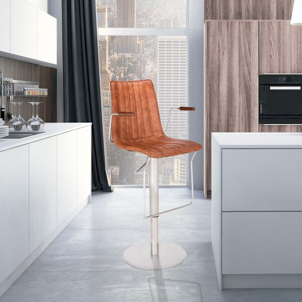 Nathaly Adjustable Height Swivel Bar Stool by Ivy Bronx