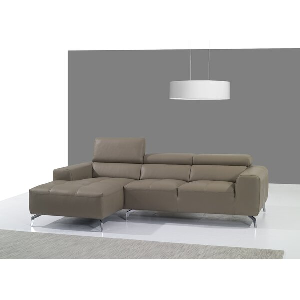 Alden Leather Sectional by Orren Ellis