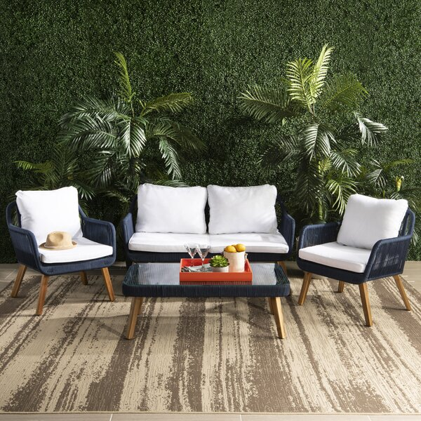 Doherty Outdoor 4 Piece Sofa Seating Group Set with Cushion by Bungalow Rose