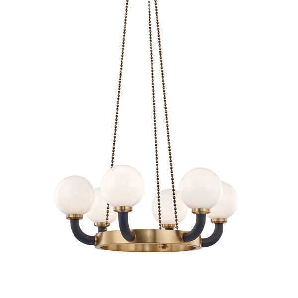 Herzog 6-Light Shaded Wagon Wheel Chandelier by Mercer41 Mercer41