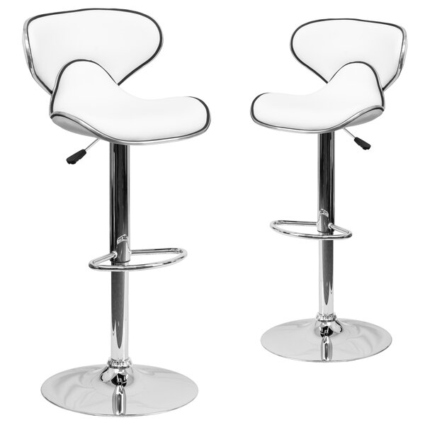 Preston Adjustable Height Swivel Bar Stool (Set of 2) by Wrought Studio