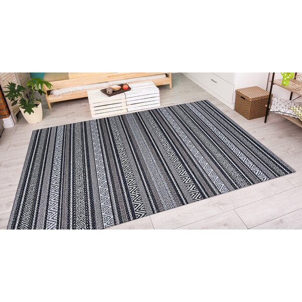 Amasa Black/Gray Indoor/Outdoor Area Rug by World Menagerie