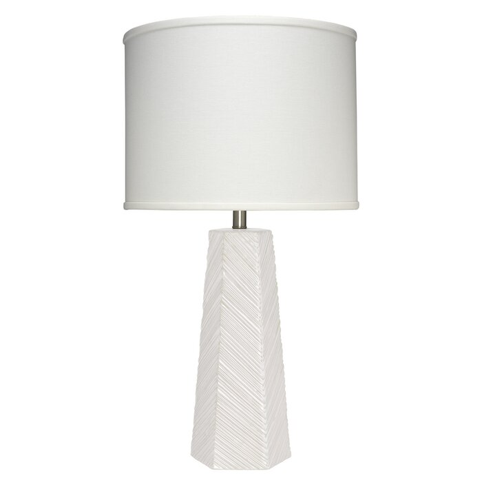 High Rise Table Lamp In Cream Ceramic With Drum Shade Off White Linen