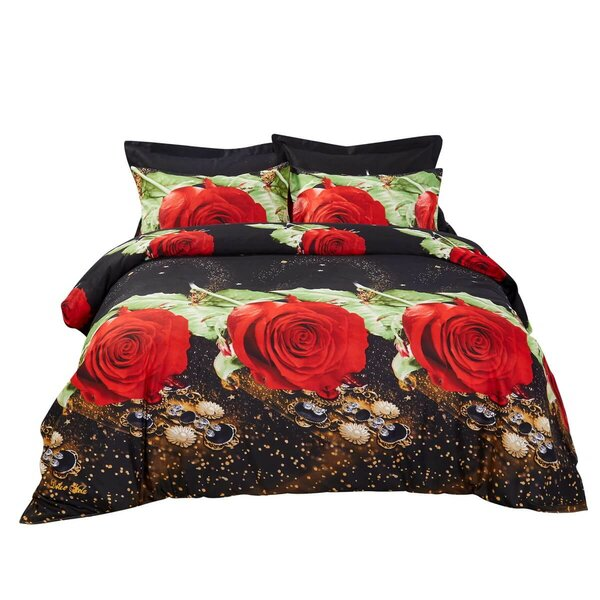 Maggard Night Roses Floral Bedding Reversible Duvet Cover Set