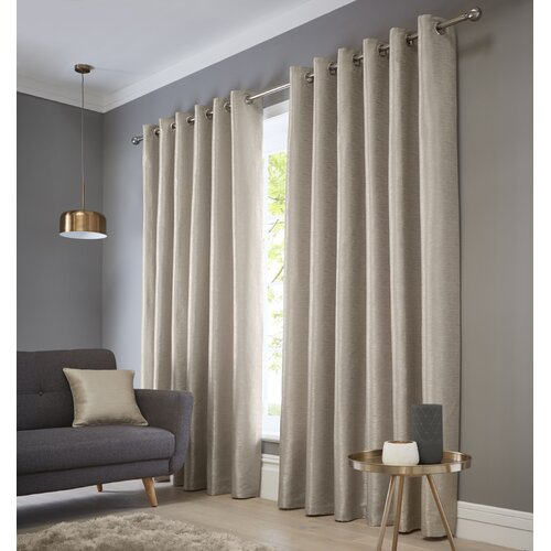 Bristoly Eyelet Room Darkening Thermal Single Curtain Three Posts Size per Panel: 117 W x 183 D cm, Colour: Natural