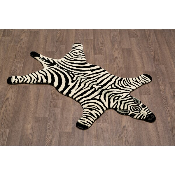 High Point Zebra Skin Shape Hand Woven Wool Black/White Area Rug by Zoomie Kids