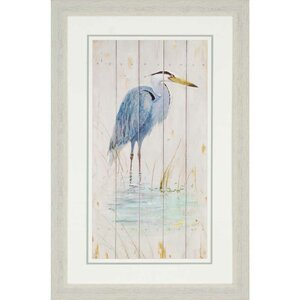 'Blue Heron' Framed Graphic Art by Beachcrest Home