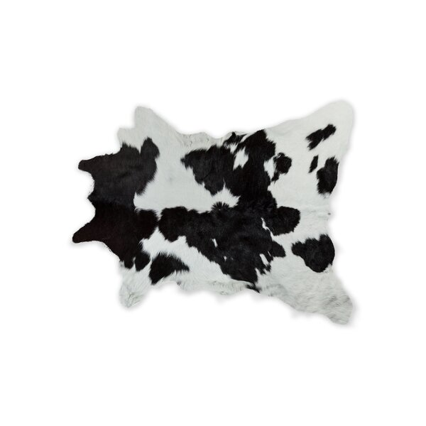 Hafsa Hand-Woven Cowhide Black/White Area Rug by Bloomsbury Market