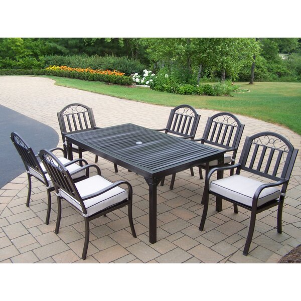 Lisabeth 7 Piece Rectangular Dining Set with Cushions by Red Barrel Studio