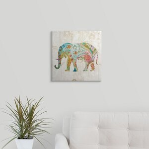 Boho Paisley Elephant II by Danhui Nai Graphic Art on Wrapped Canvas by Great Big Canvas