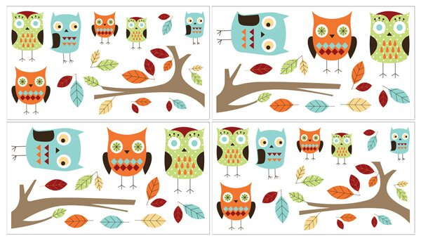 Hooty Turquoise and Lime Wall Decal by Sweet Jojo Designs