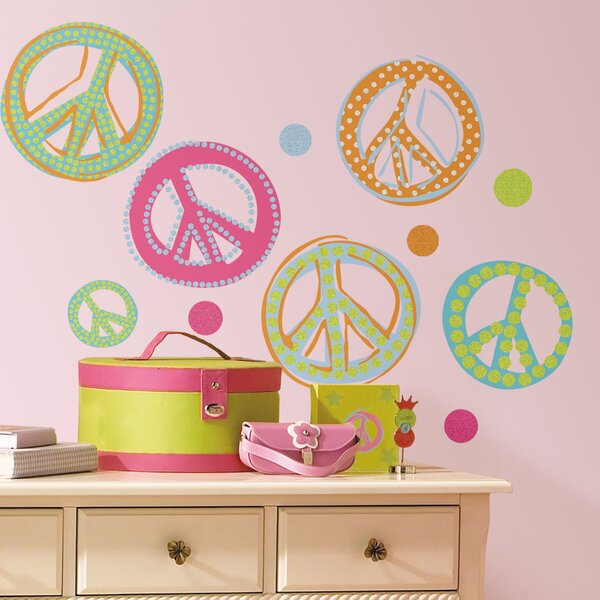 26 Piece Pandy Peace Signs Wall Decal Set by Zoomie Kids