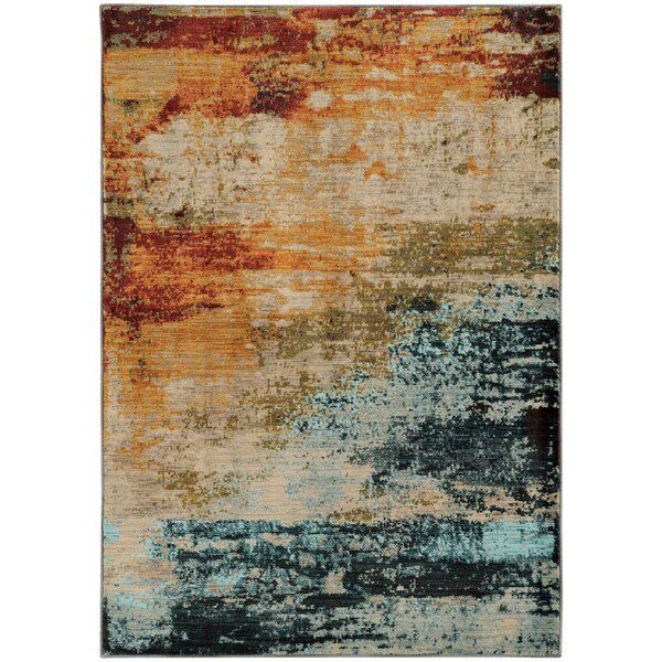 Haugan Abstract Blue/Red Area Rug by Trent Austin