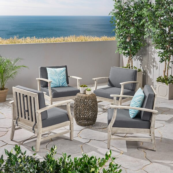Brickhouse Outdoor Patio with Cushions (Set of 4) by Foundry Select Foundry Select