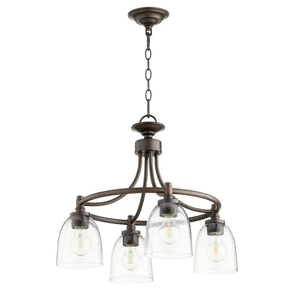Herman 4 - Light Shaded Wagon Wheel Chandelier by Charlton Home Charlton Home
