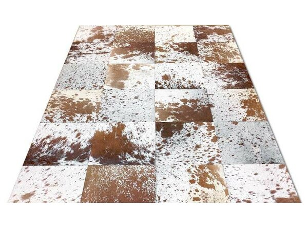 Bellbrook Patchwork Hand-Woven Cowhide Brown/White Area Rug by Foundry Select