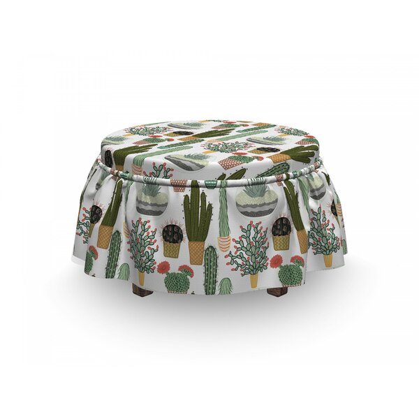 Succulents Flower Pots Ottoman Slipcover (Set Of 2) By East Urban Home