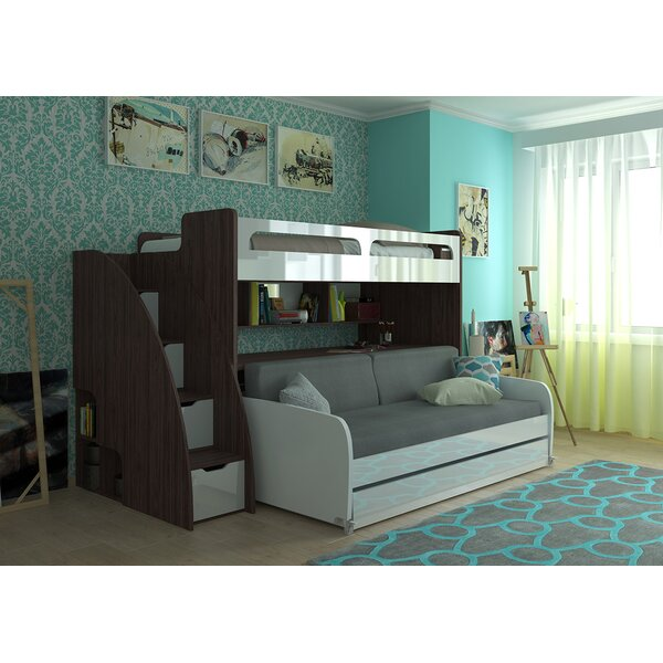Gautreau Twin L-Shaped Bunk Beds with Trundle and Shelves by Brayden Studio