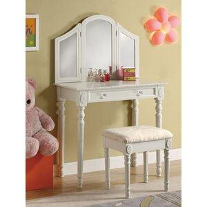 Schminktisch-Set Quesa mit Spiegel von Home & Haus