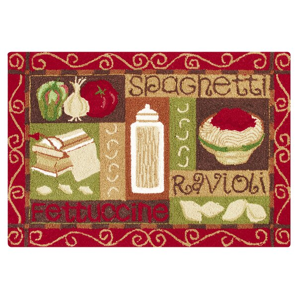 Horne Spaghetti Wool Tan/Red Area Rug by Winston Porter