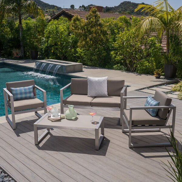 Ontiveros Outdoor 4 Piece Sofa Set with Cushions by Union Rustic