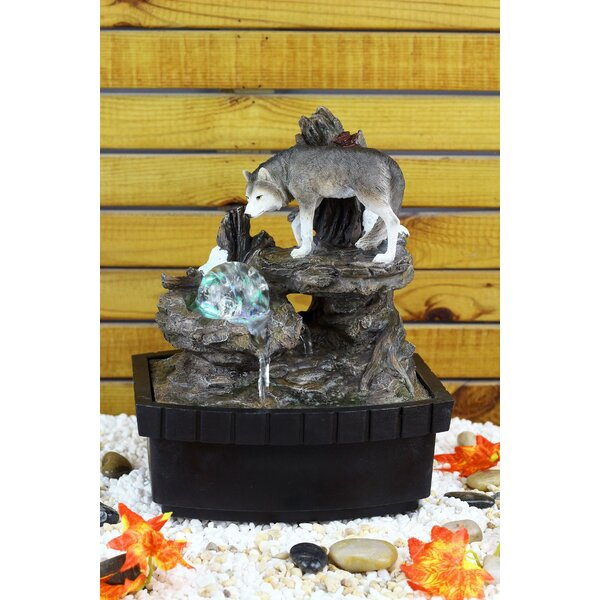 Resin/Fibreglass Wolf Table Fountain with LED Light by OK Lighting
