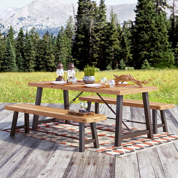 Benigna 3 Piece Wood Picnic Table by Trent Austin Design