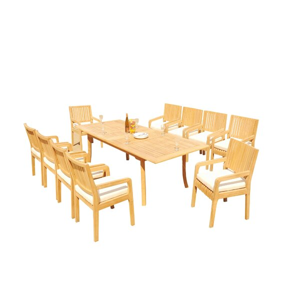 Mastin 11 Piece Teak Dining Set by Rosecliff Heights