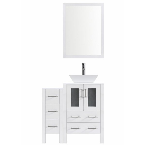 Modern 36 Single Bathroom Vanity Set with Mirror by LessCare