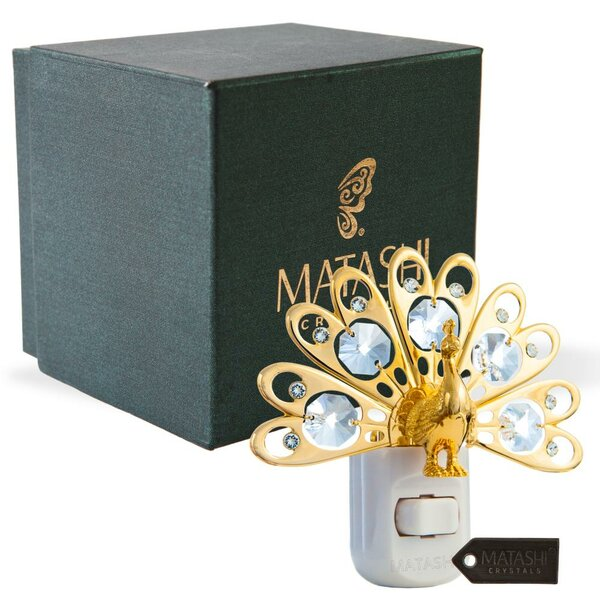 24K Gold Plated Crystal Studded Peacock LED Night Light by Matashi Crystal