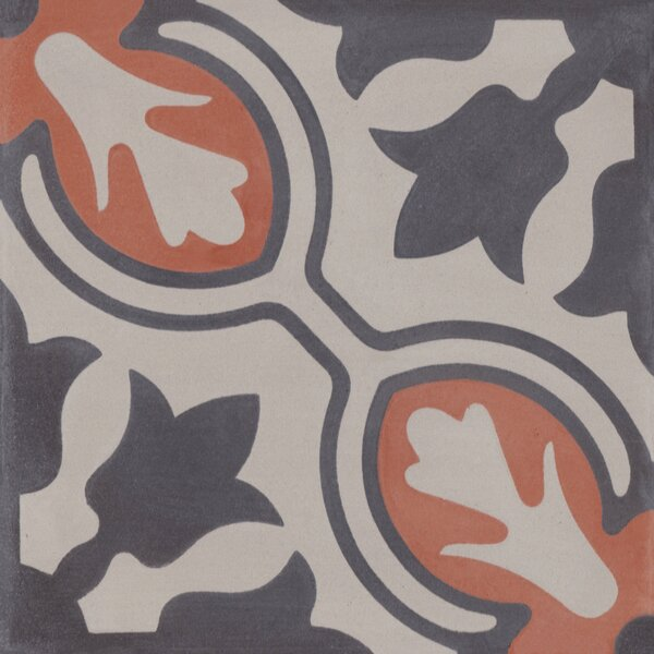 Lisbon 8 x 8 Cement Field Tile in Gray/Orange by Villa Lagoon Tile
