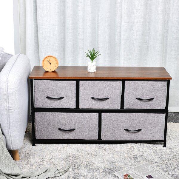 Kleist 2-Tier Fabric Storage Organizer 5 Drawer Dresser by Ebern Designs