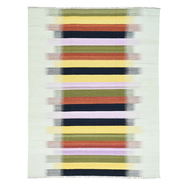 One-of-a-Kind Goyette Flat Weave Kilim Hand-Knotted Black/Yellow/Ivory Area Rug by Bloomsbury Market