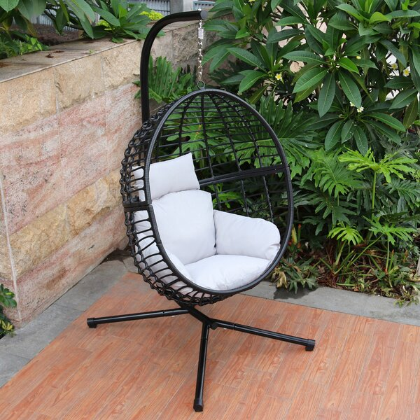 Wolsingham Outdoor Wicker Hanging Basket Swing Chair with Stand by Bungalow Rose Bungalow Rose