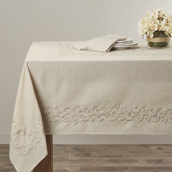 Jean Scroll Design Tablecloth by Lark Manor