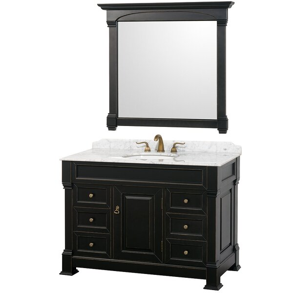 Andover 48 Single Antique Black Bathroom Vanity Set with Mirror by Wyndham Collection
