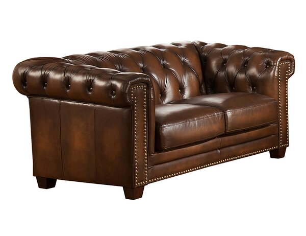 Hickory Leather Chesterfield Loveseat by Amax