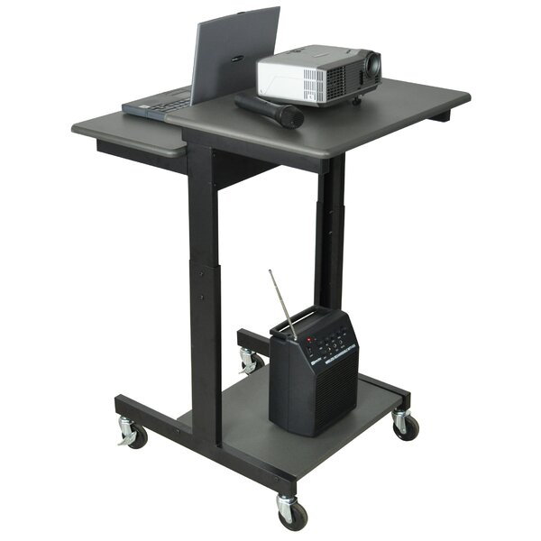 Mobile Adjustable Height Computer Workstation AV Cart by Luxor