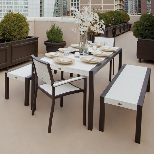 Surf City 5 Piece Bench Dining Set by Trex Outdoor
