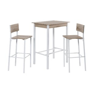 Bar table and chairs wayfair 3 piece bar table set watchthetrailerfo