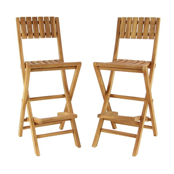 Osterley Wood 45 Folding Patio Bar Stool Set (Set of 2) by Gracie Oaks