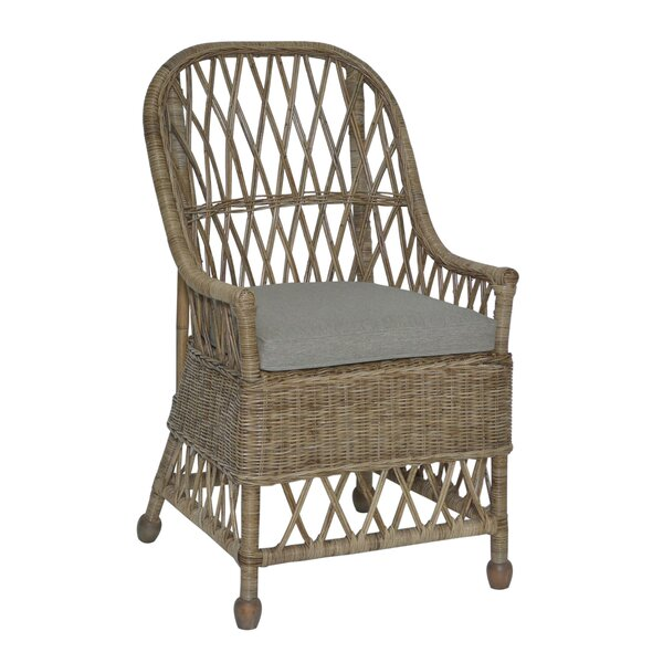 Galena Rattan Arm Chair In Gray By Highland Dunes